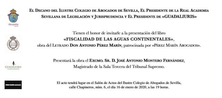 """Invitación libro """"Fiscalidad Aguas Continentales"""""""